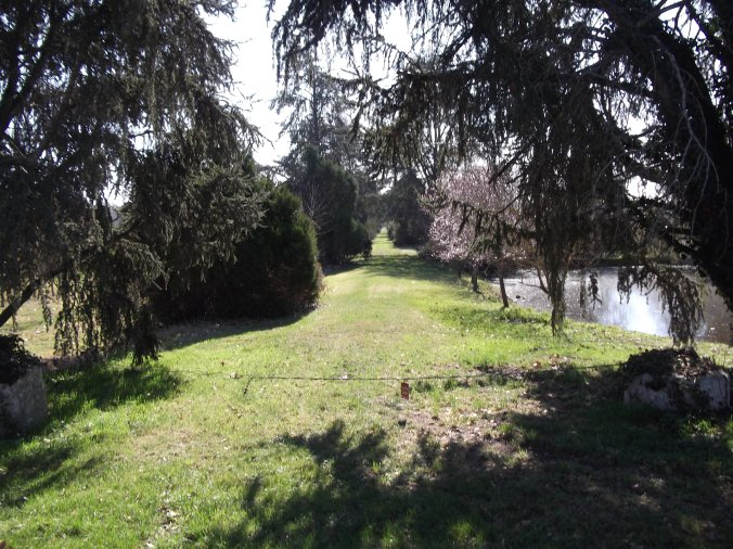 l'allée du château et le petit étang à droite